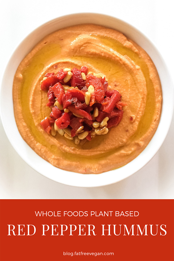 Spicy Red Pepper Hummus: Harissa adds heat to this red pepper hummus so that you can skip the tahini (and the fat) if you like. Dress it up with a topping of pine nuts and peppers. #vegan #wfpbno #wfpb
