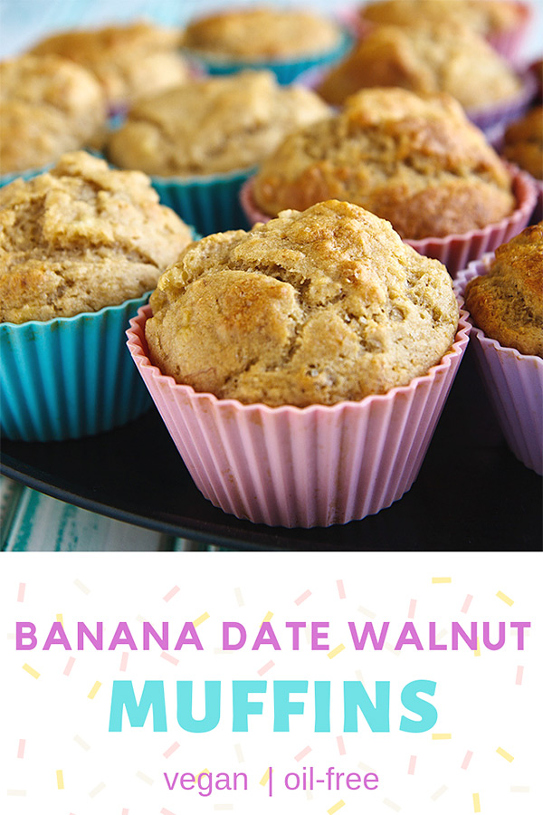 Banana Date Walnut Muffins: These vegan banana muffins are moist and delicious and filled with dates and walnuts. No one will suspect they have no added oil or butter. #vegan #wfpbno #wfpb