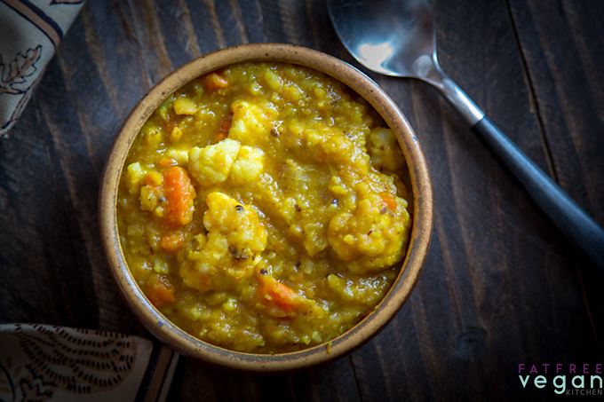 Curried Split Pea Soup with Cauliflower