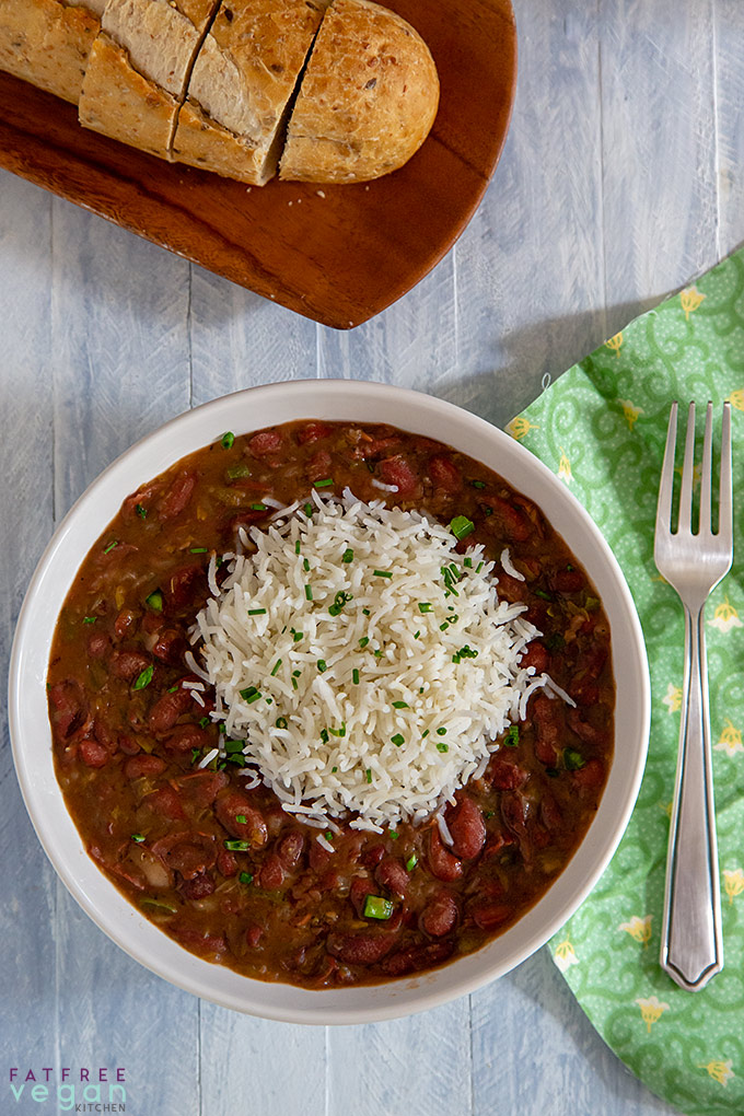 Real Louisiana Red Beans and Rice in the Instant Pot: You can cook this spicy pot of beans on the stove or in the Instant Pot. #vegan #wfpb