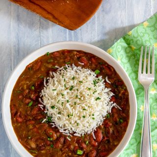 Real Louisiana Red Beans and Rice - Vegan with French Bread