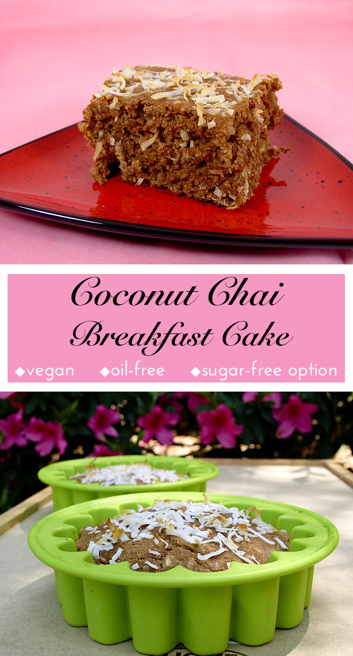 Coconut Chai Breakfast Cake: This dense, lightly spiced, and lightly sweet vegan coffee cake gets its rich flavoring from chai. It's perfect for breakfast or anytime!