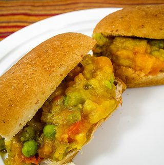 Pav Bhaji on hot dog buns