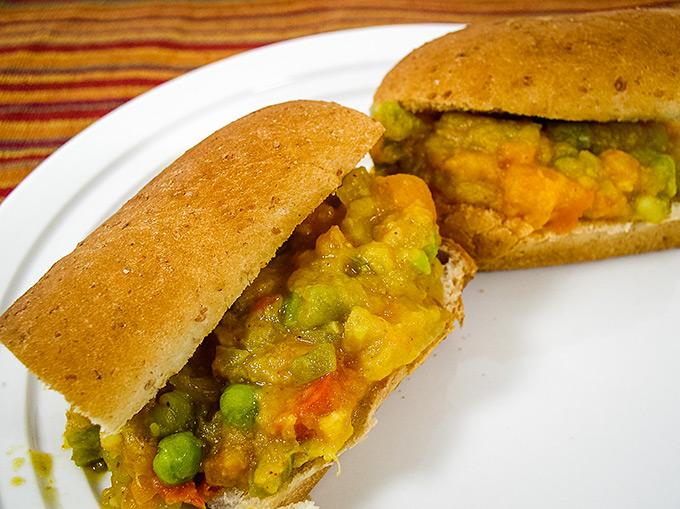 Pav Bhaji on hot dog buns