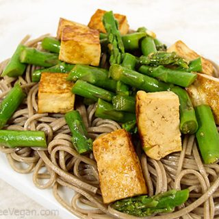 Somen with Tofu and Asparagus in a Chinese Dressing