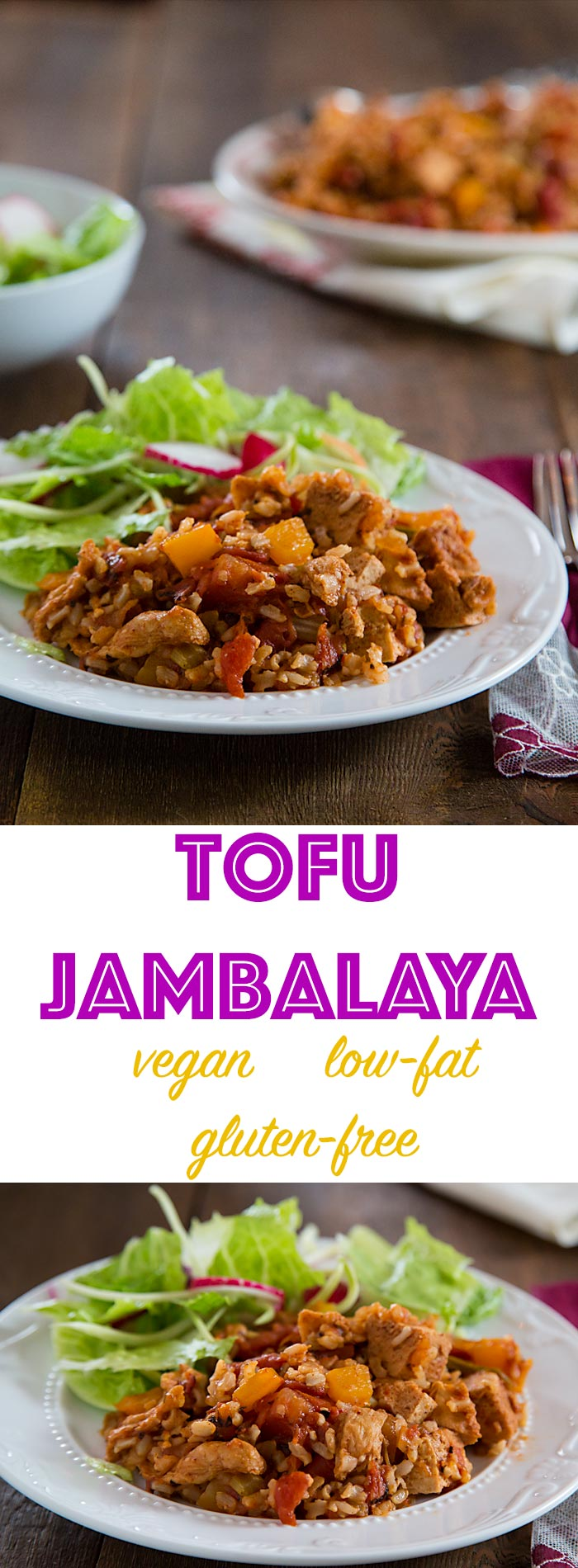This vegan jambalaya is more like a paella or Spanish rice than a traditional jambalaya. Gluten-free and low-fat!