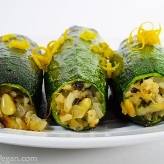 Zucchini Stuffed with Pinenuts and Herbed Rice