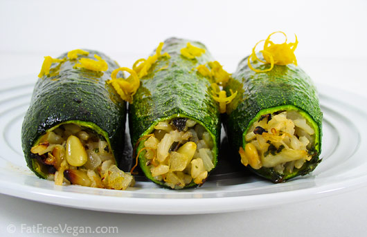 Zucchini Stuffed With Pinenuts And Herbed Basmati Rice Fatfree Vegan Kitchen
