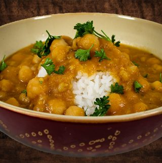 Chickpeas and Barley with Red Lentils and Eggplant Sauce