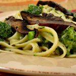 Fettuccine No-Fredo with Broccoli and Sautéed Mushrooms