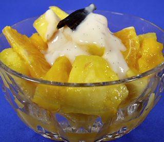 Tropical Fruit Salad with Vanilla-Scented Yogurt Sauce