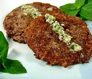 Red Lentil and Rice Patties with Coconut-Mint Sauce