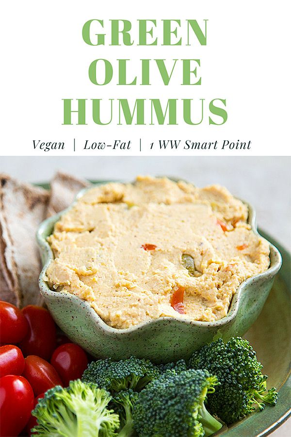 Tangy, salty green olives replace much of the fat in traditional hummus. If you like olives and hummus, you'll love this low-fat green olive hummus. #vegan #wfpb #weightwatchers #1point