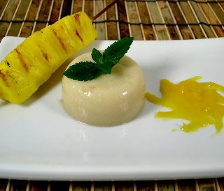 Almond Jelly with Grilled Pineapple and Mango Puree