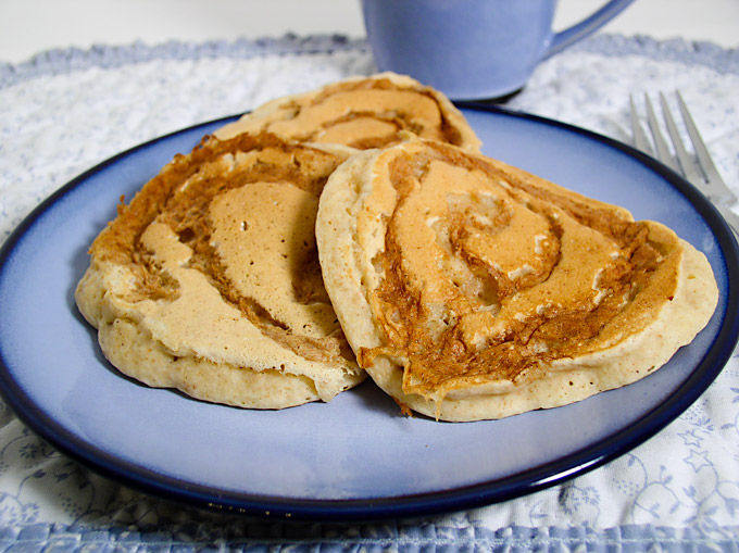 Apple-Cinnamon Swirl Pancakes: These delicious vegan pancakes have no added oil.