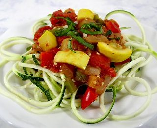 Zucchini Spirals with Fresh Vegetable Sauce