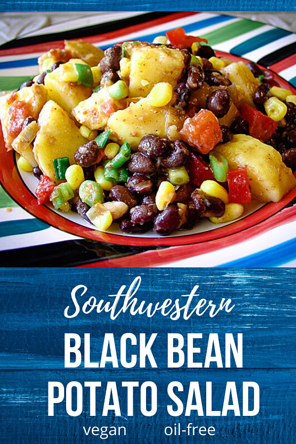 Southwestern Black Bean Potato Salad: Give your taste buds a treat with this spicy Southwestern potato-bean salad that's hearty enough to serve as a main dish. #Vegan and oil-free.