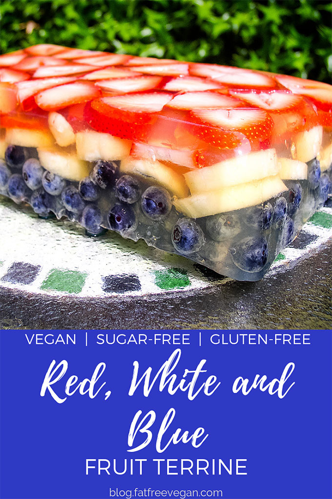 Red, White and Blue Fruit Terrine: This red, white, and blue fruit terrine will dress up your Fourth of July picnic. It's like a heathy, vegan jello salad. Gluten-free, refined sugar-free.