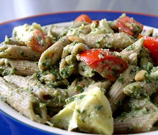 Artichoke Pesto Pasta Salad