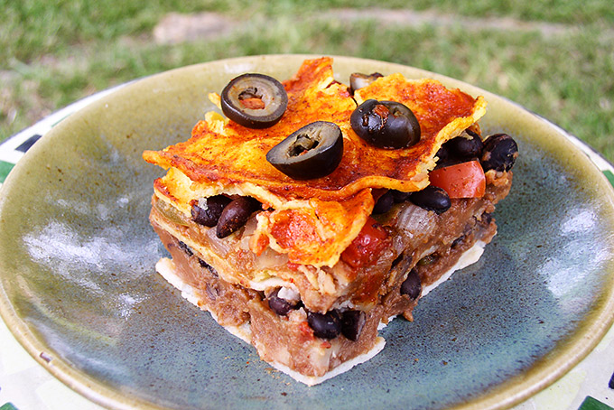 Vegan Enchilada Casserole or Mexican Lasagna