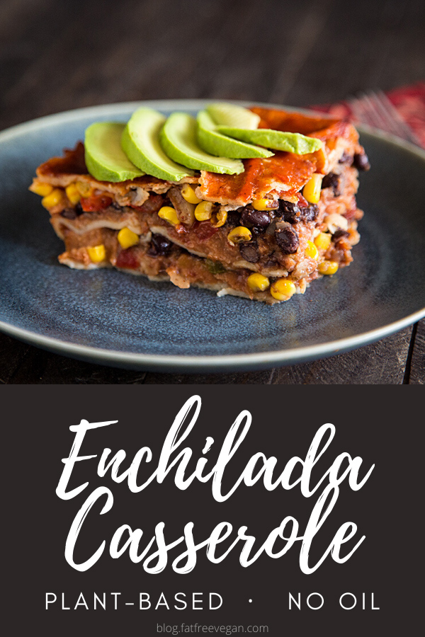 Enchilada Casserole: Refried beans, black beans, and salsa are layered between corn tortillas in this easy but incredibly delicious vegan enchilada casserole. #vegan #wfpb