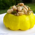 Patty Pan Squash Stuffed with Cajun White Beans