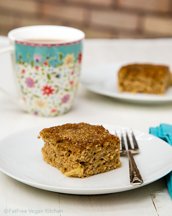 Pineapple Coffee Cake: Not only is this vegan pineapple coffee cake completely free of added fats, it also uses no white flour at all and contains very little sugar.