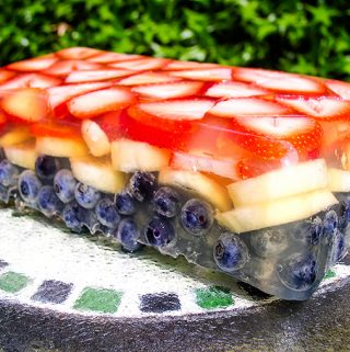 Red, White, and Blue Fruit Terrine: This vegan dessert is made with fruit, fruit juice and no gelatin.