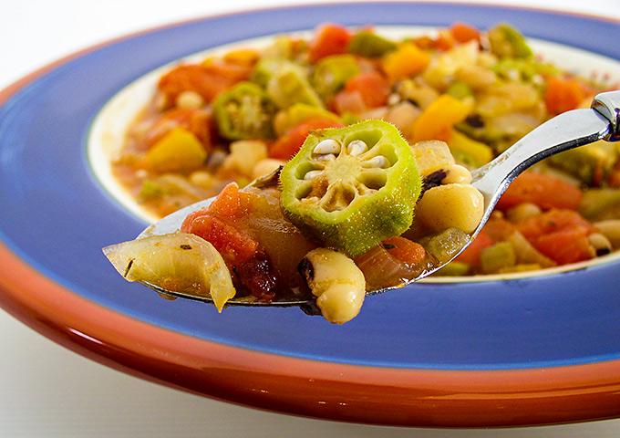 Black-Eyed Pea Gumbo (Okra in spoon)