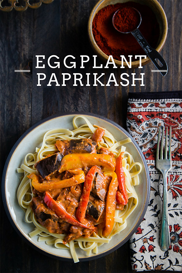 Eggplant Paprikash: In this eggplant version of chicken paprikash, Hungarian paprika gives the sauce its vibrant color and rich flavor while tofu sour cream adds creaminess. #vegan #wfpb