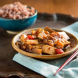 Eggplant and Tofu with Spicy Garlic Sauce: In this vegan, Szechuan-inspired dish, eggplants and tofu are cooked in a spicy garlic and ginger-infused sauce that will make anyone an eggplant lover.