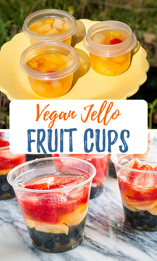 Vegan Jello Fruit Cups: It's so easy to make vegan jello cups with no added sugar! Just three ingredients are all you need to make these healthy lunchbox snacks. #wfpb #vegan #kidfriendly