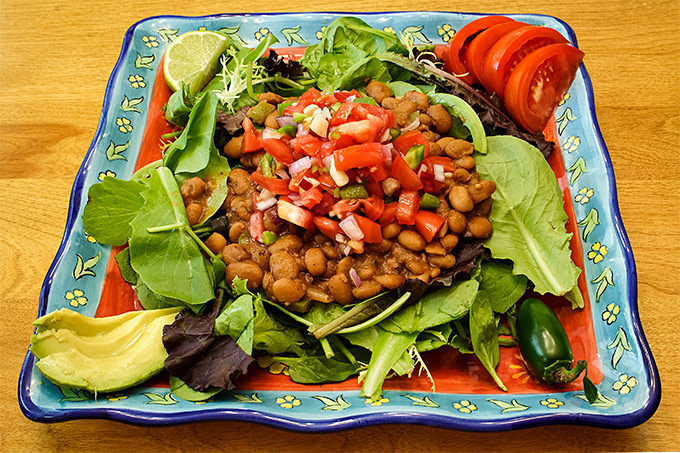 Taco Salad with Homemade Chili Pinto Beans