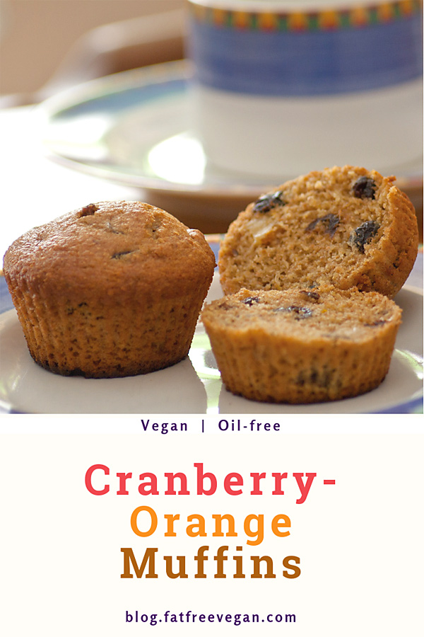 Orange-Cranberry Muffins: Sweet with a hint of tart, these vegan cranberry-orange muffins are tender, moist, and surprisingly fat-free. #vegan #wfpb #fatfree