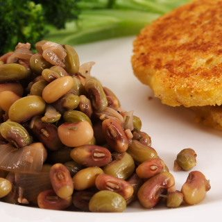 Fresh Peas and Corn Cakes