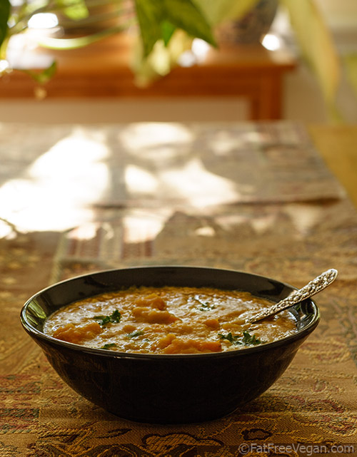 Curried Split-Pea Soup with Kale and Sweet Potatoes