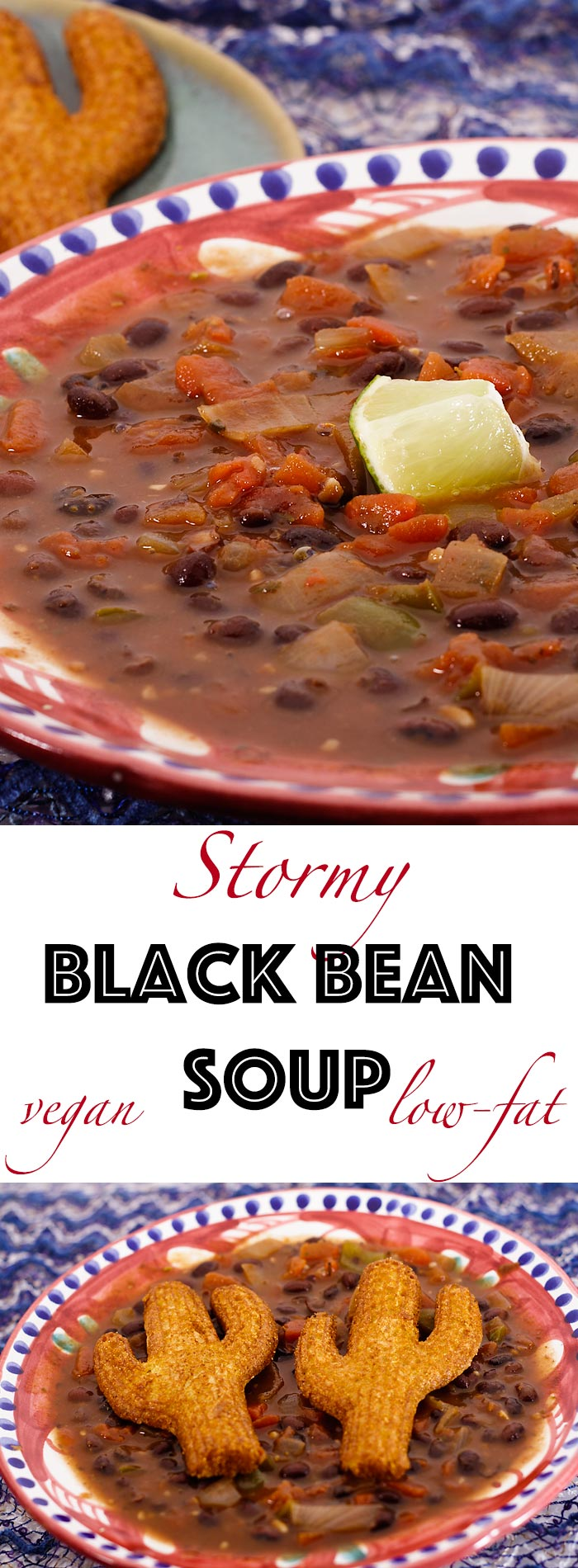 Simple and slightly spicy, this vegan black bean soup can be on the table in about an hour.