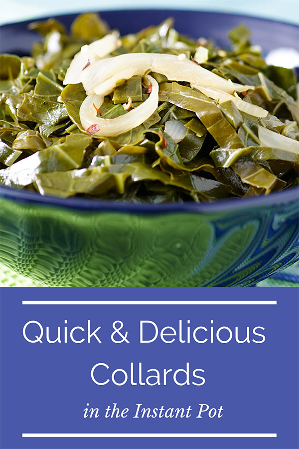 These flavorful collard greens take just minutes in the pressure cooker or Instant Pot and require only 4 ingredients that you probably have right now. Works for other greens too! #vegan #wfpb #wfbpno #veganww #zeropoints