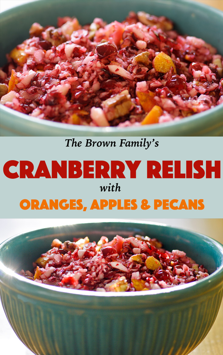 Take a break from your regular, sugary cranberry sauce with this zesty blend of cranberries, oranges, apples, and walnuts.