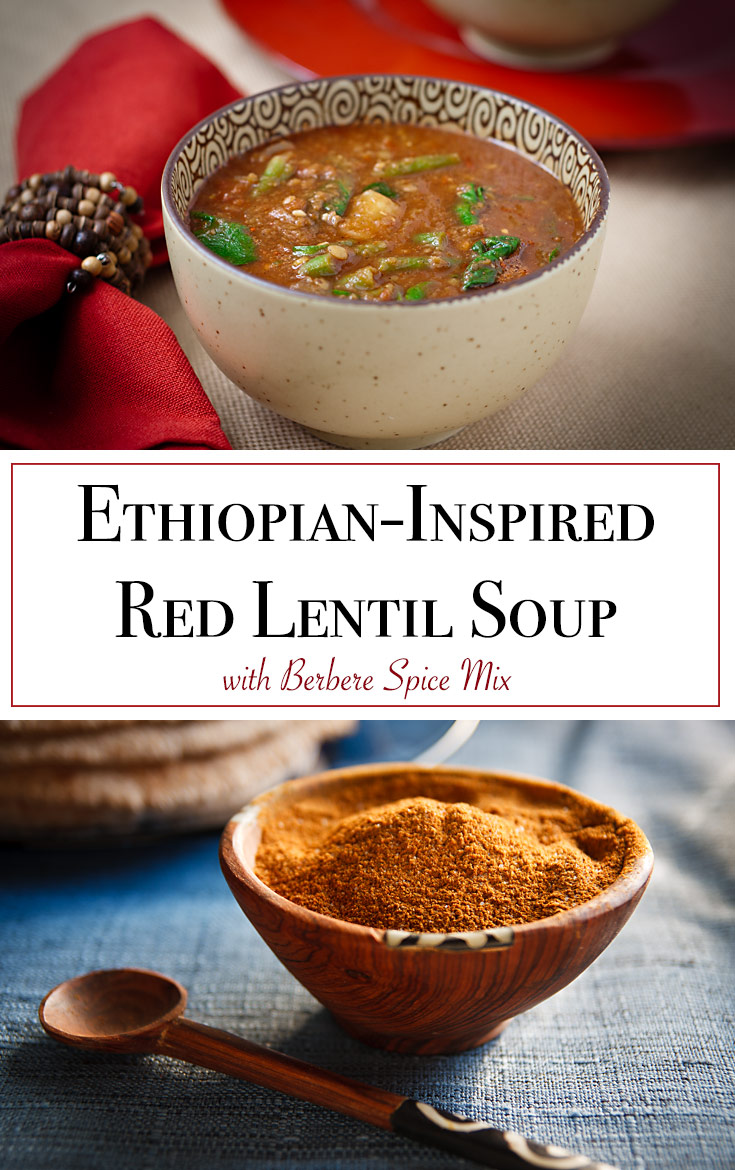 This vegan Ethiopian lentil soup is very complex and aromatic and gets its distinctive flavor from an equal amount of 11 different spices. Naturally gluten-free.
