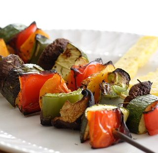 Grilled Skewered Vegetables with Quick Polenta