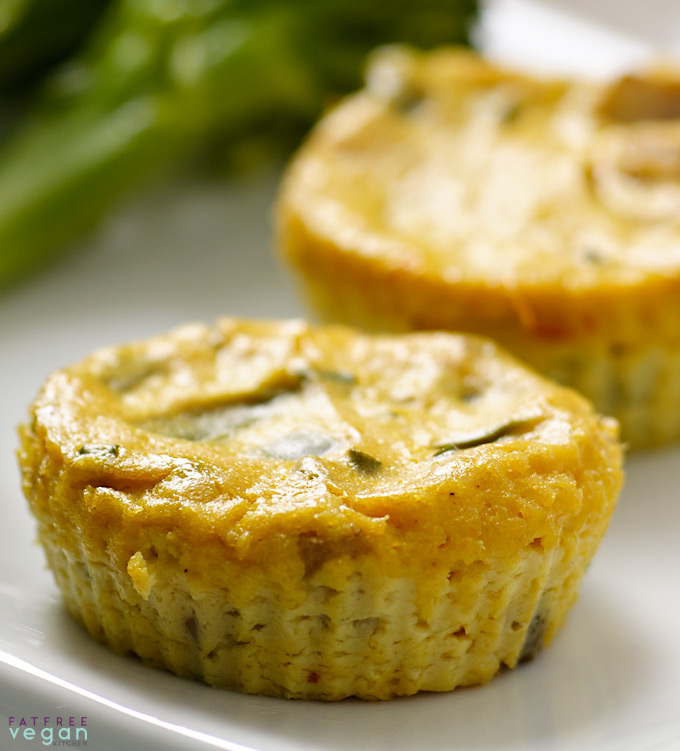 Fat Free Vegan Kitchen: Mini Crustless Tofu Quiches