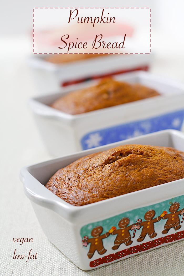 Rich and moist, this pumpkin spice bread makes a great holiday gift and no one will suspect it's vegan and oil-free. #vegan #wfpb #christmas #recipe #pumpkin