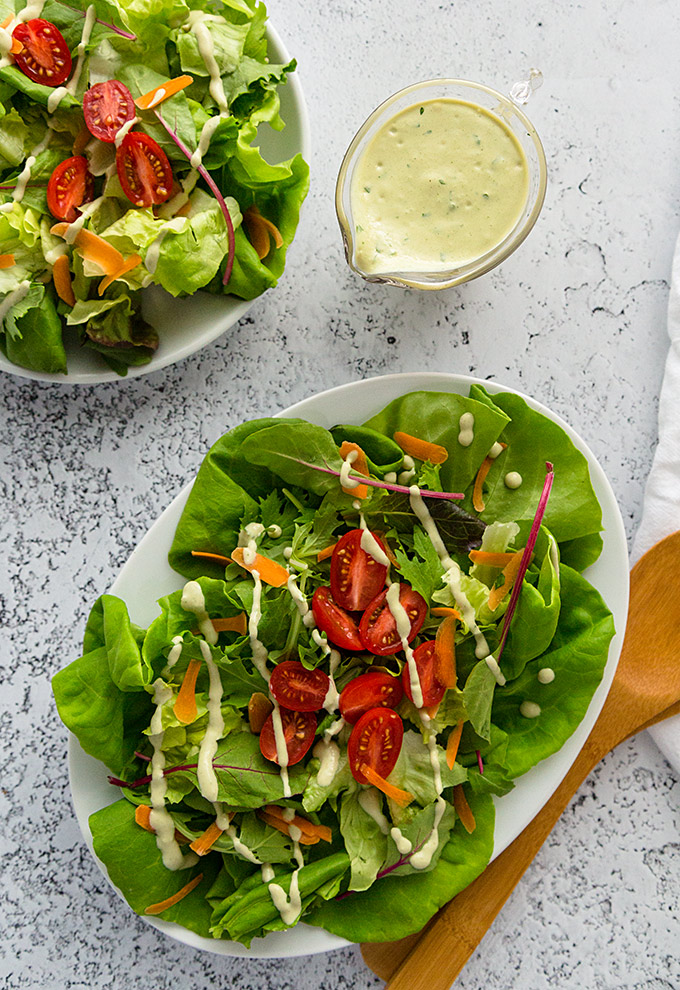 Susan's Lite Goddess Sesame Dressing with salad