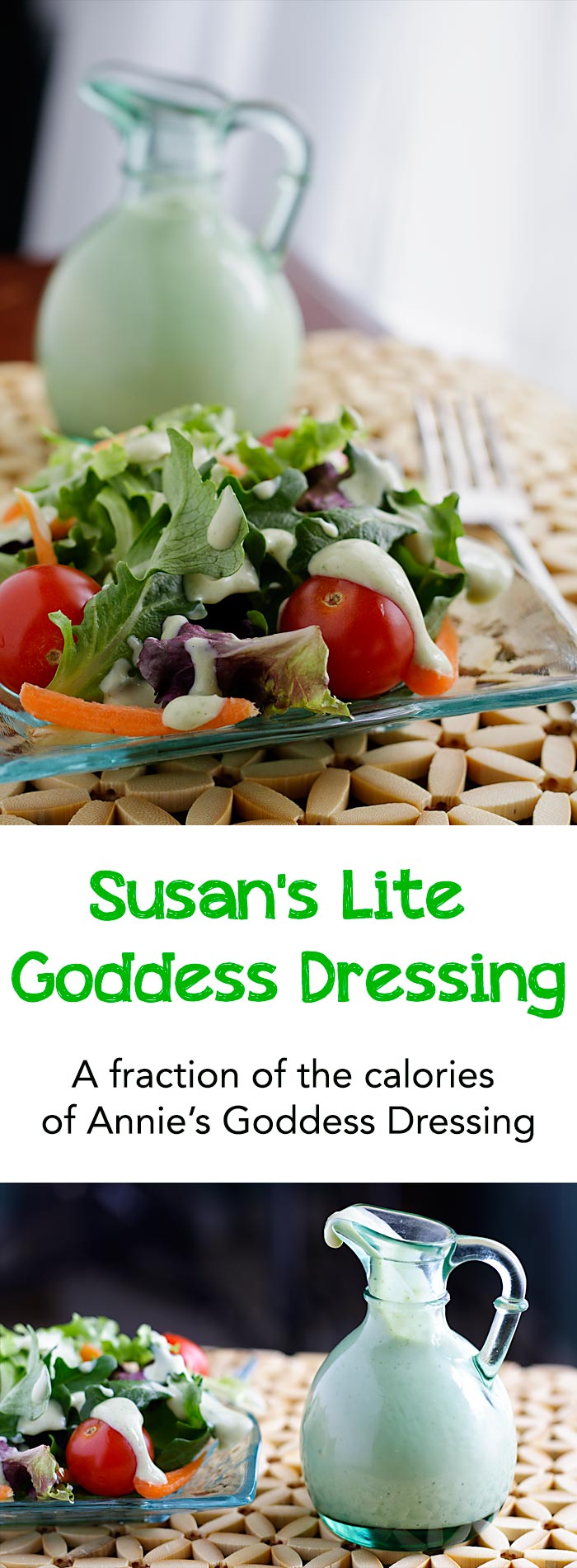 This lite version of Annie's Goddess dressing has about 1/7 the amount of calories as the original and 1/13th the fat!