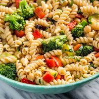A to Z Pasta Salad: This easy, fat-free pasta salad celebrates vegetable from Asparagus to Zucchini. Gluten-free options available.