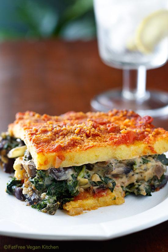Polenta Lasagna with Portabellas and Kale