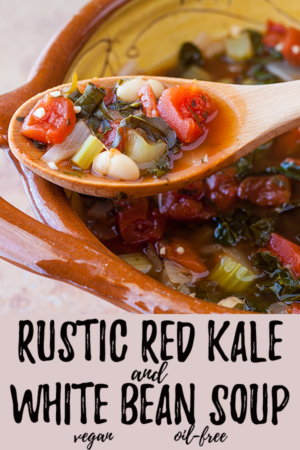 Rustic Red Kale and White Bean Soup: Hearty and nutritious, this plant-based white bean soup is packed with the flavors of basil and oregano.#vegan #oilfree