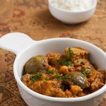 Thai Eggplants and Chickpeas in Peanut Masala