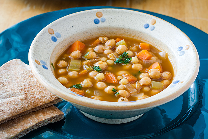Chickpea Soup with Moghrabieh (Lebanese Couscous)